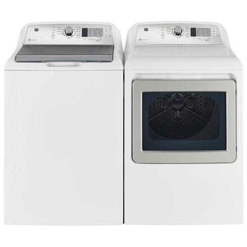 Laveuse à chargement par le haut HE 5,3 pi³ et sécheuse électrique 7,4 pi³ de GE - Blanc