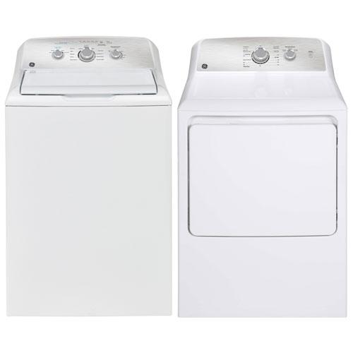 Laveuse à chargement par le haut haute efficacité 4,4 pi³/sécheuse électrique 6,2 pi³ de GE - Blanc