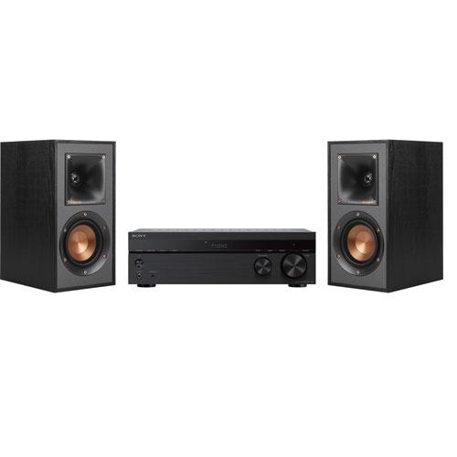H.-p. d'étagère 50 W Klipsch, haut-parleur A/B Bluetooth 2.0 Sony, récepteur stéréo - Paire - Noir