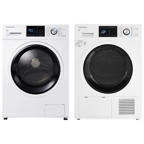 Insignia 2.7 Cu. Ft. HE Compact Front Load Washer & 4.4 Cu. Ft. Electric Dryer - White
