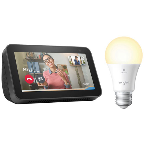 Amazon Echo Show 5 Smart Display w/ Sengled A19 Smart LED Light Bulb - Charcoal/Soft White