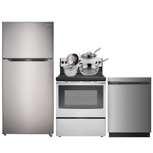 "Insignia 30"" Top Freezer Refrigerator; Electric Range; Dishwasher; Cookware Set - Stainless"