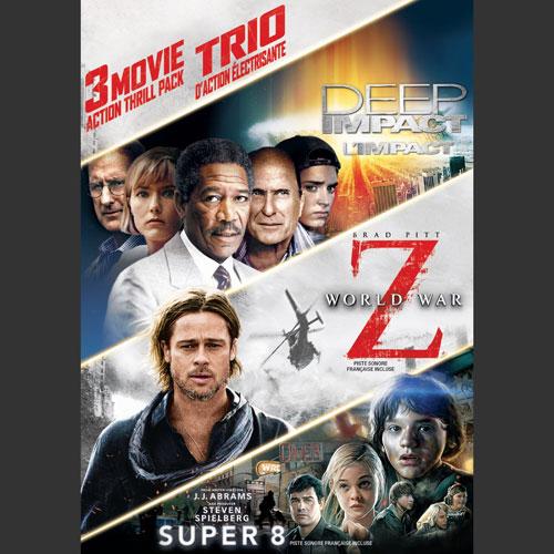 3 Movie Action Thrill Pack: Deep Impact/ World War Z/ Super 8